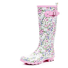 Pink floral rain boots Korean female wild fashion women rain boots water shoes SUB1244