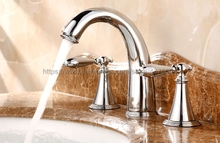 цена на Polished Chrome bathroom faucet for hot and cold Mixer tap Sink faucet Double handle 3 hole bathroom basin faucet Nnf083