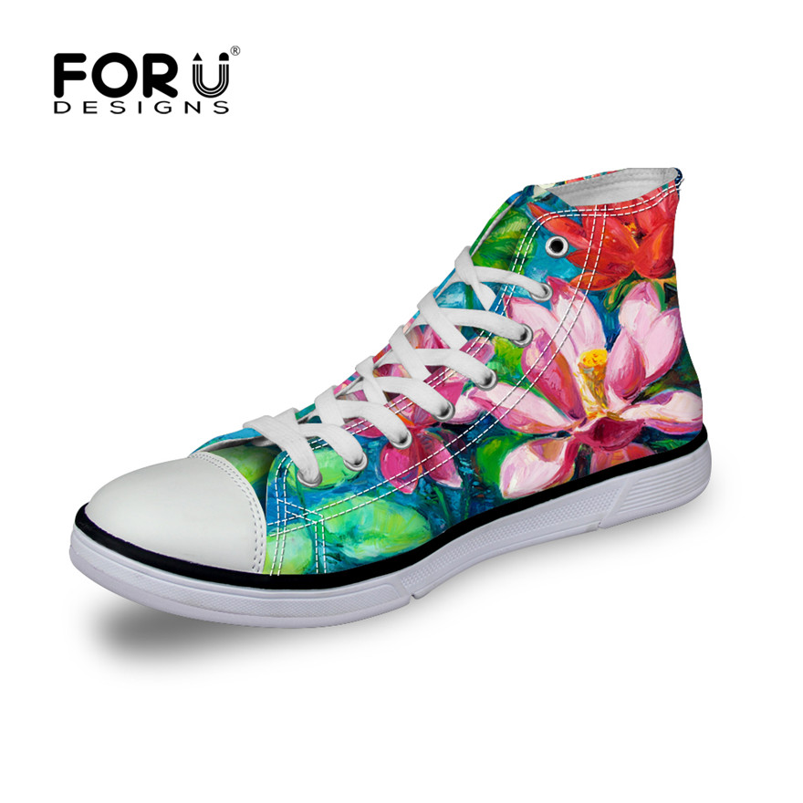 FORUDESIGNS Fashion Breathable Women's Canvas Shoes,Casual High Top&Low Style Shoe for Female,Classic Lace-up Vulcanize Shoes