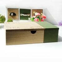 Europe Brief Stylish VintageTea Coffee Storege Box Jewelry Treasure Chest Case Manual Wood Box Desktop Storage Box
