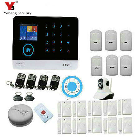 YobangSecurity WIFI Burglar Alarm Video IP camera Wireless GSM House Security Safety System Wireless Siren Smoke Fire Detector yobangsecurity wireless wifi gsm home burglar security alarm system kit wireles video ip camera smoke fire detector strobe siren