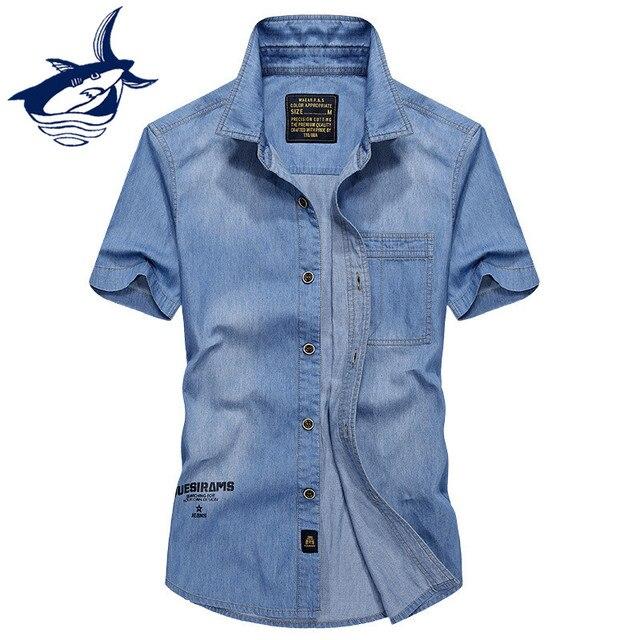 brand new c3640 ee39a US $19.13 33% di SCONTO|Tace & Shark Camicia di Jeans Degli Uomini di Modo  di Marca Cowboy Lettera Stampata A Maniche Corte uomo Casual Jeans Camicie  ...