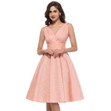 2016 Summer style robe ete 50s swing Vintage Polka dot Dresses Sleeveless Vestidos sexy Club Party plus size Women clothing