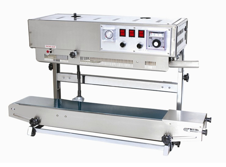 high speed continuous bag sealer wiith solid ink printer, sealing machine and date coding machine