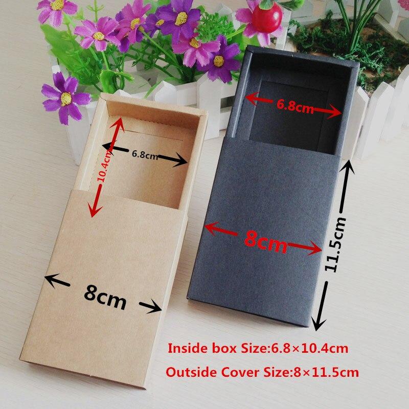 100PCS Lot Brown Paper Kraft Drawer Blank Boxes Carrying Case Gift Kraft Drawers Packaging Cardboard Box