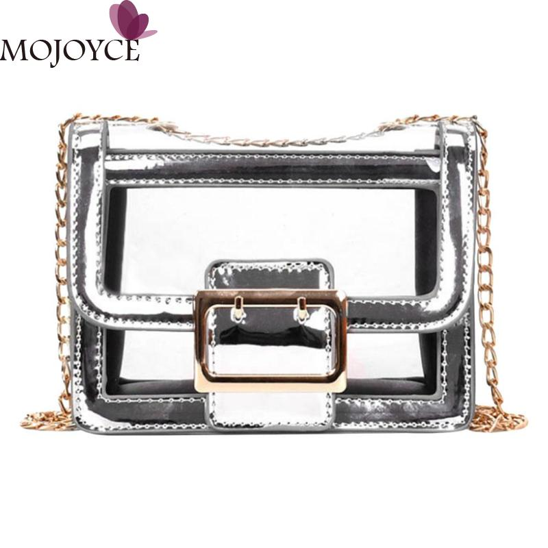 2018 Vintage Women Flap Shoulder Messenger Bag Brand Design Female PVC Chain Clear Crossbody Handbags Girl Portable Shopping Bag