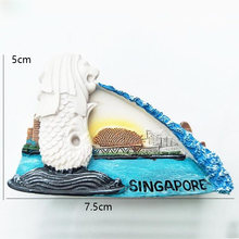 1Pcs hot Singapore Merlion Park Hand-Painted Aromatherapy 3D Fridge Magnets World Travel Souvenirs Refrigerator Magnetic Sticker(China)