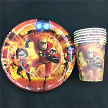 60pcs The Incredibles food-grade paper cup+7inch plate tableware for birthday,party cup*30pcs+plate*30pcs