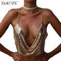 Z & KOZE Sexy Oro lentejuela blusa entallada Mujeres de Profundo Cuello En V de La Cadena club de la Tarde del partido backless tops tops 2017 Nuevo Diseño del Tanque Causal Top