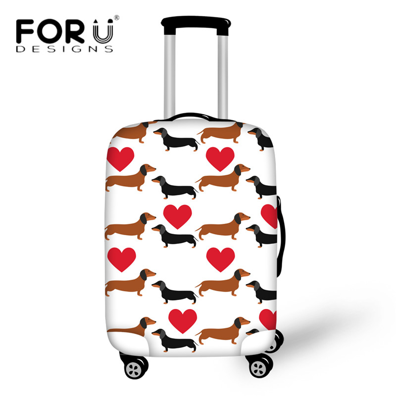 FORUDESIGNS Elastic Thick Luggage Cover Animal Dachshund Dog Print Travel Suitcase Protective Covers For 18-30 Inch Trolley Case