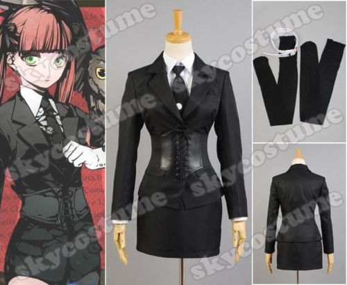 Arcana Famiglia Felicita Uniform Cosplay Costume Black Jet Dress Shirt+Dress+Jacket+Corset+Gloves+Tie+Stockings Full Set free shipping 32cm short arcana famiglia jolly black synthetic anime cosplay wigs