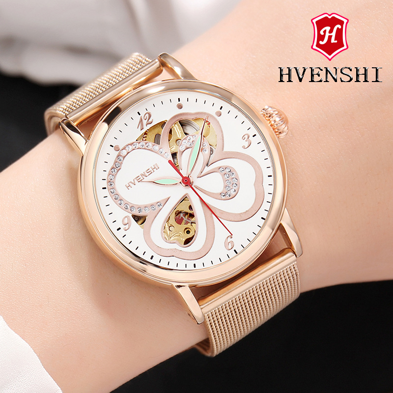 HVENSHI Automatic mechanical watch women Rose Gold watch Top Luxury Watch Ladies Wristwatch Fashion casual watches binger genuine gold automatic mechanical watches female form women dress fashion casual brand luxury wristwatch original box