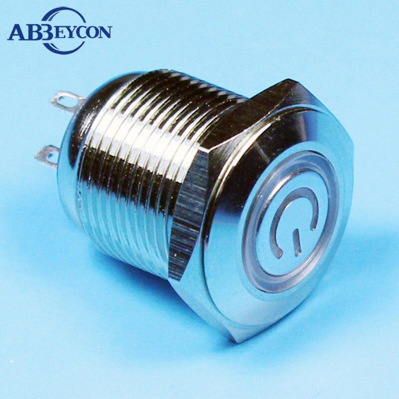 TY 1671 16mm ON OFF led illuminated button 3v white ring power symbol led switch shortest