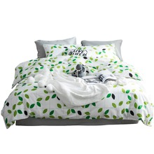 100% cotton  The leaves bedding set Green leaf pattern duvet cover king size 4pcs
