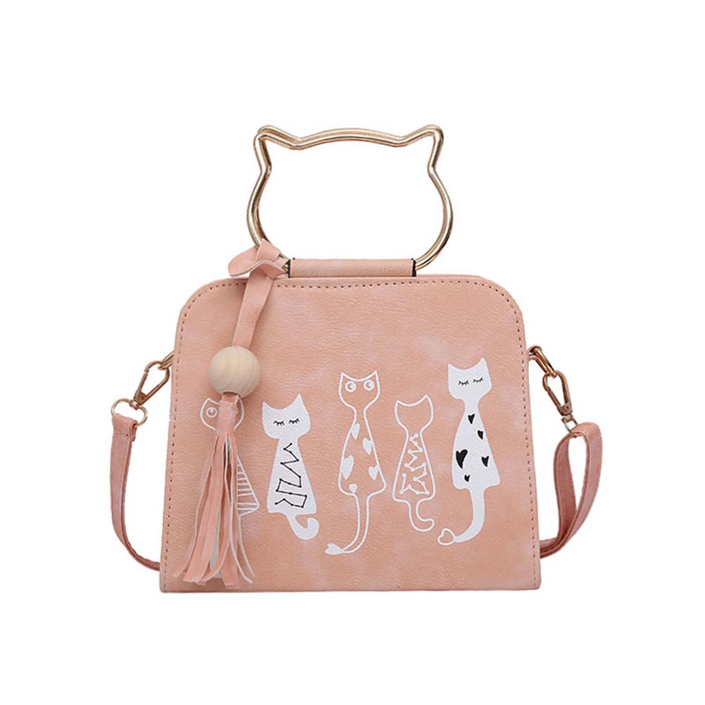 Women Bags Scrub Leather Shoulder Bags Cute Cartoon Cats Printed Small Crossbody Ladies Travel Bags Luggage