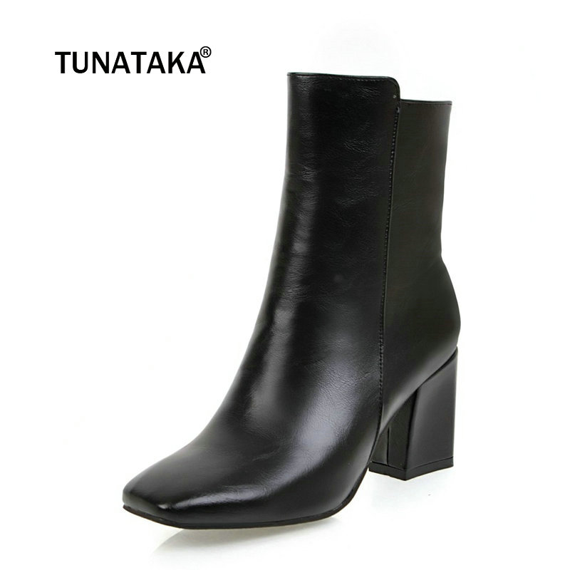 Ladies PU Leather Thick Heel Ankle Boots Fashion Zipper Square Toe Fall Winter Bootie Black White Wine Red women ankle boots pu leather short plush 7cm high thick block heel square toe white zipper winter black casual office lady boots