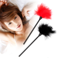 IKOKY 24cm Flirting Feather Adult Games Black Spanking Whip Slave Sex Toys for Couple SM Bondage Erotic Toys