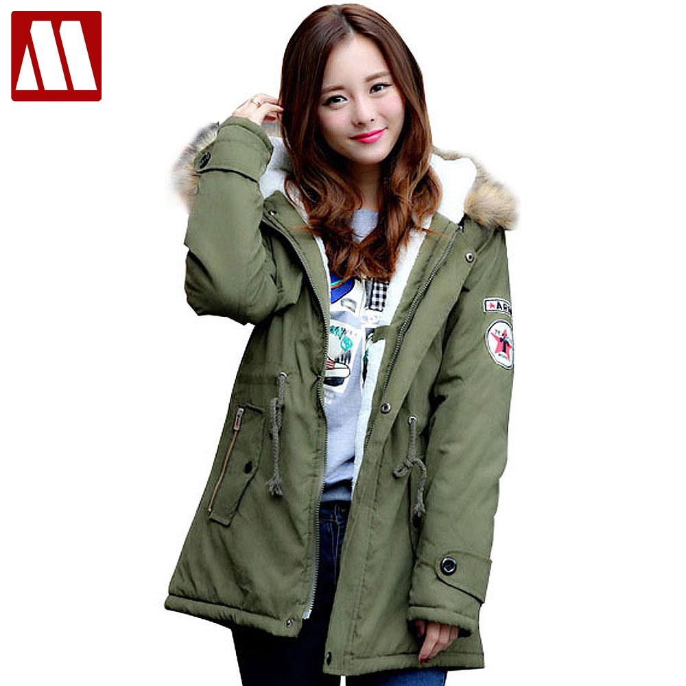 Winter Casual Canada Womens Fur Collar Coat Army Green Outwear Coats