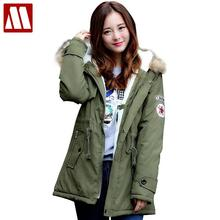 Winter Casual Canada womens fur collar coat army green outwear coats military women jacket ropa hombre winter jacket Parka Coat(China)