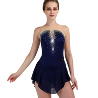 Figure Skating Dress Women Royal Blue Sleeveless Elasticity Crystal Custom Ice Skating Clothes Girls Performance Wear ZH8032