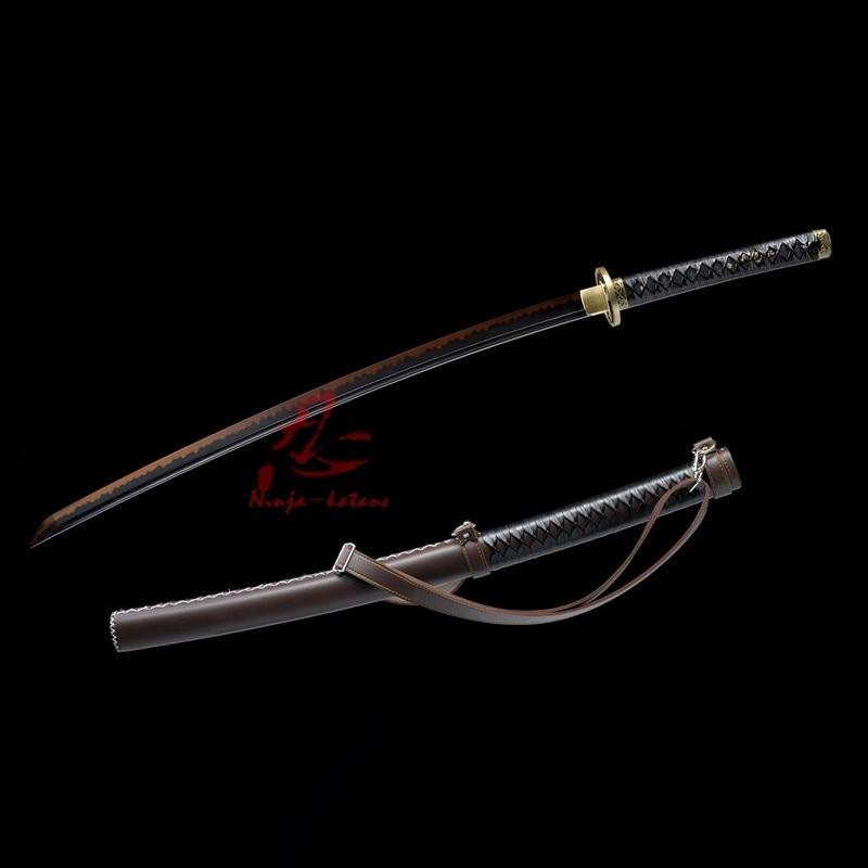 Ev ve Bahçe'ten Kılıçlar'de Kil temperli T 10 çelik adsorbe tungsten bıçak Yürüyen Ölü Kılıç Michonne's katana keskin'da  Grup 1