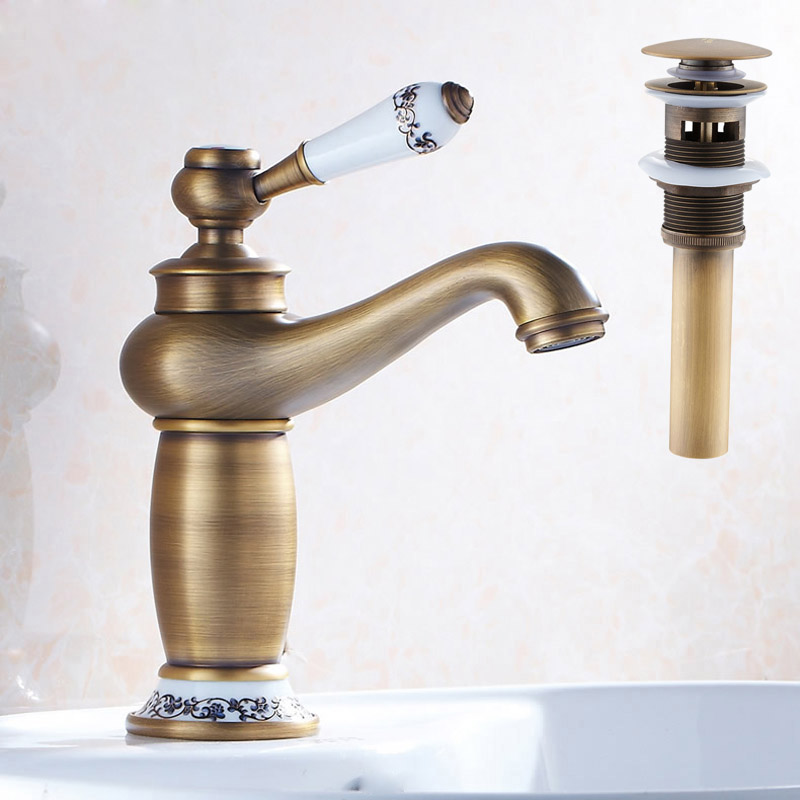 Free Shipping Single Lever Bathroom Vessel Sink Mixer Taps Deck Mounted Brass Basin Water Faucet with Sink Pop Up Drain free shipping single hole basin faucet oil rubbed bronze finished bathroom sink mixer taps with pop up drain