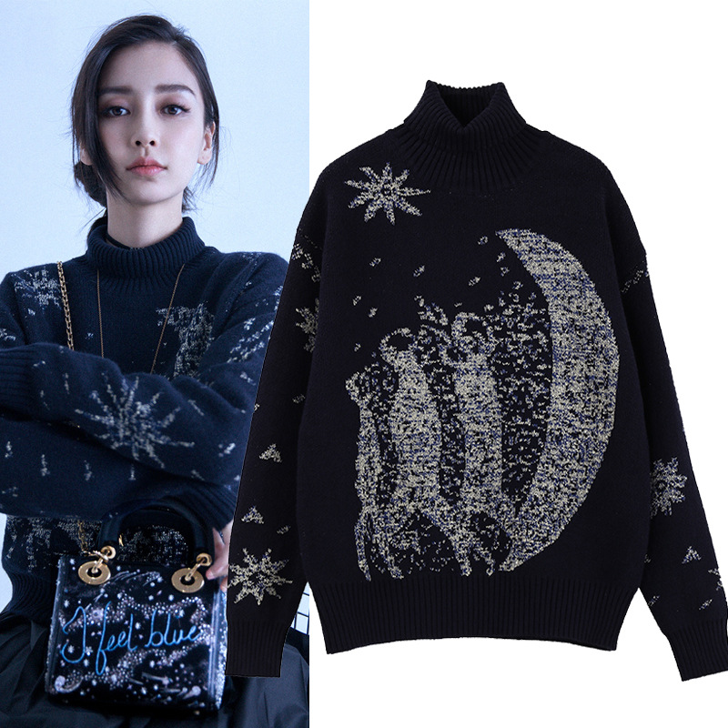 Aliexpress.com : Buy Star moon print high neck navy blue sweater ...