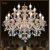 Candelabro de cristal moderno lustres de cristal decoración Tiffany colgantes y candelabros iluminación del hogar lámpara de interior