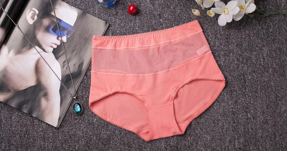 סקסי שקוף תחרה נשית תחתונים 100% כותנה גבוהה המותניים הבטן ציור חלקה תחתונים בתוספת גודל תחתונים תחרה נשים תחתונים