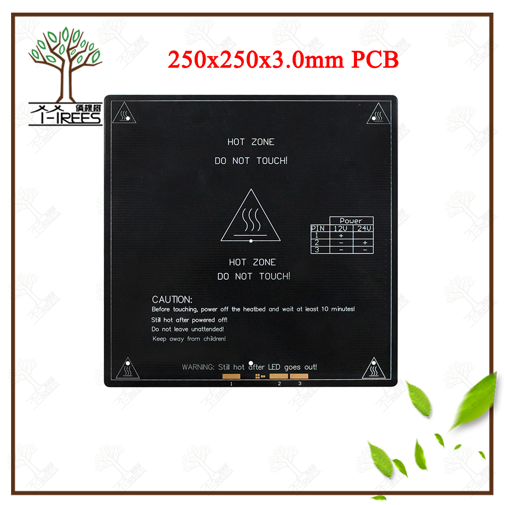HOT BED Aluminium heat bed 12V/24V PCB 250*250*3.0mm Part For Reprap Mendel hot HotBed 3D Heatbed Part 3mm Aluminium Plate 250 reprap mk2a aluminum heat bed 12v 24v 327 327 3mm pcb standard hot plate 3d printer parts
