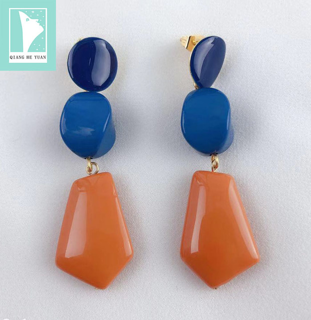 2019 Retro chocolate shape double geometry earrings High-quality resin unique sexy earrings