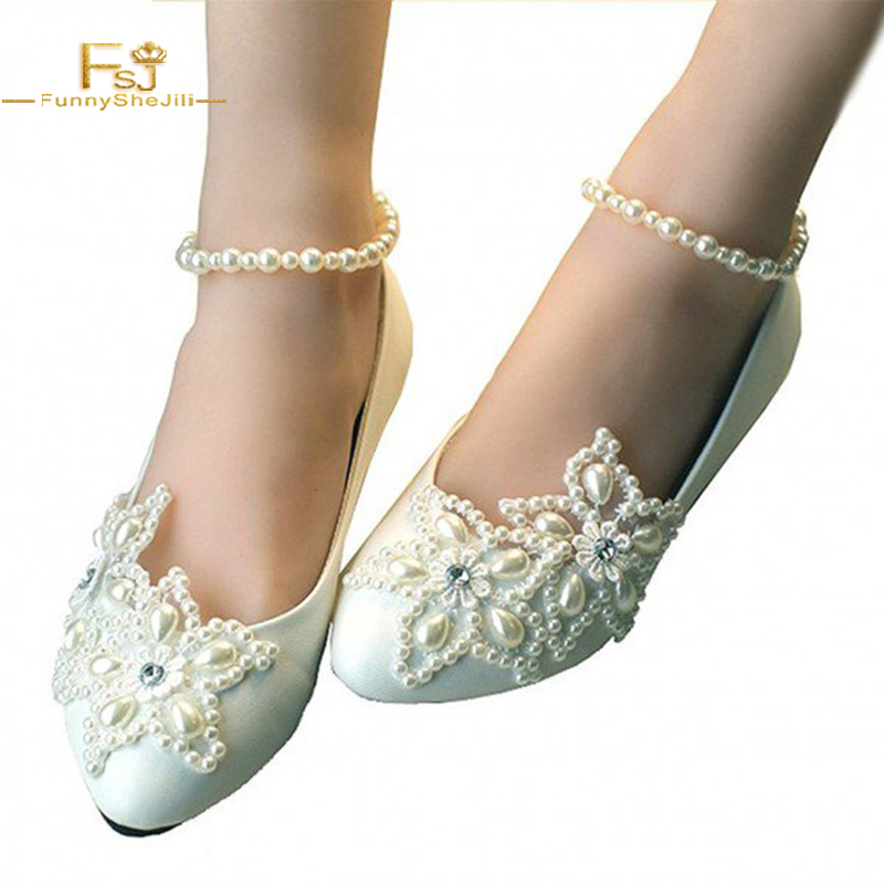 18f7a663cf1c Women s White Pearl Ankle Strap Decorated Flats Bridal Shoes FSJ Round Toe Wedding  Shoes Woman Engagement Sting Bead Elegant
