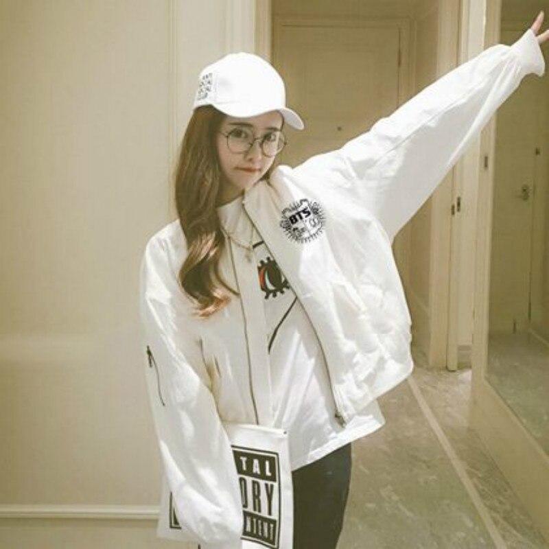 BTS KPOP 2017 new coat Women s Korean version Letter printing Cotton White ArmyGreen Loose zipper