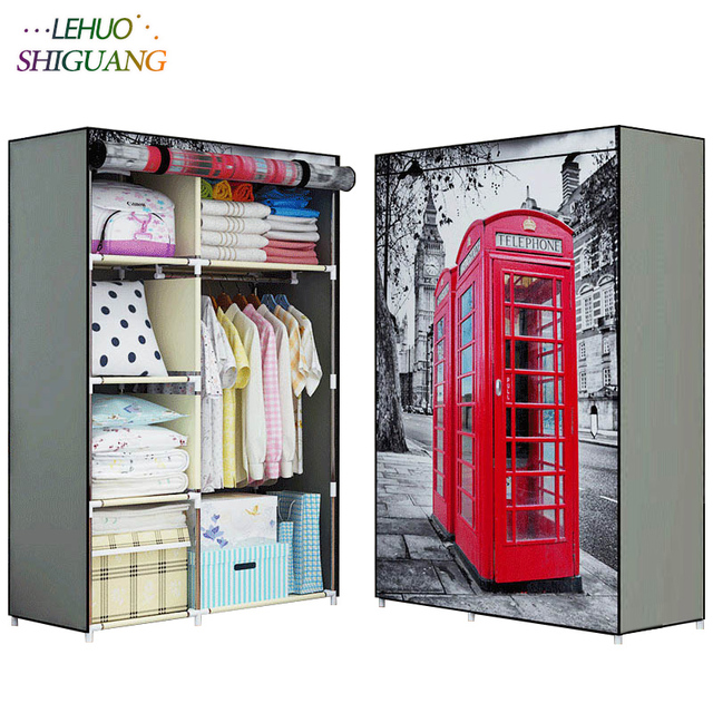New 3D Printing Non Woven Fabric Wardrobe Storage Organizer Detachable  Clothing Portable Closet Bedroom Fashion