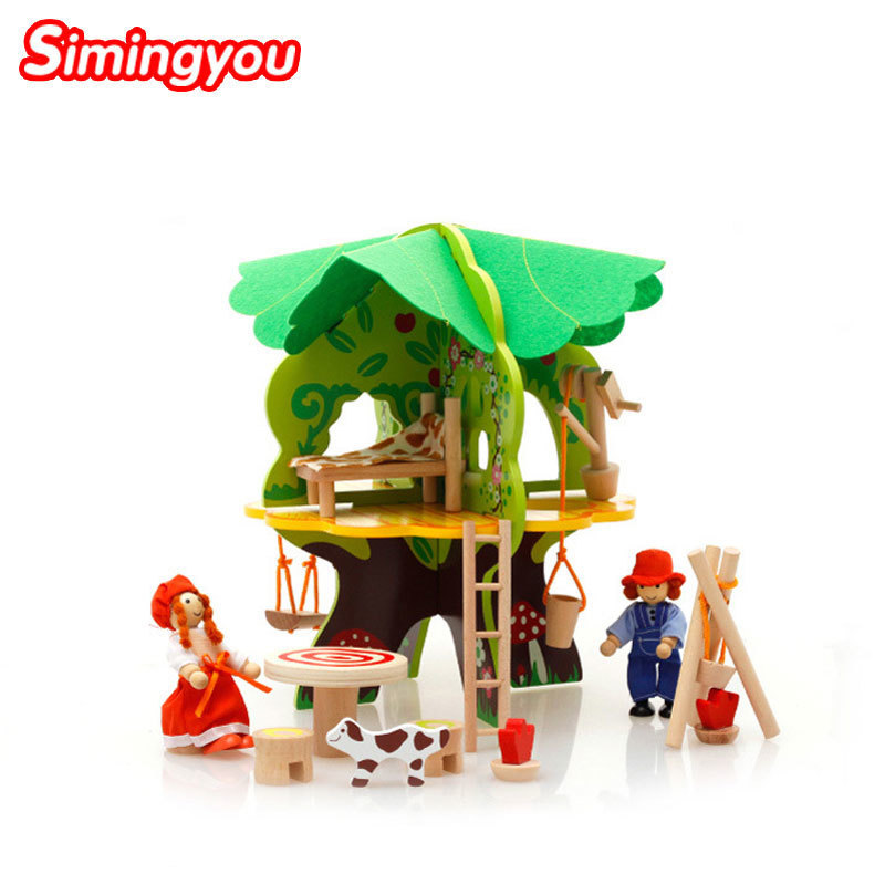 Simingyou Wooden DIY Villa Tree House Character Demolition Assembly Combination Model Toys B40-A-108 Drop Shipping froggy builds a tree house
