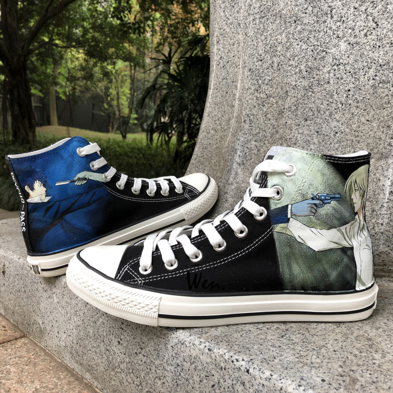 Wen Black Anime Hand Painted Shoes Design Custom Psycho-Pass Man Womans High Top Canvas Sneakers for Christmas GiftsWen Black Anime Hand Painted Shoes Design Custom Psycho-Pass Man Womans High Top Canvas Sneakers for Christmas Gifts