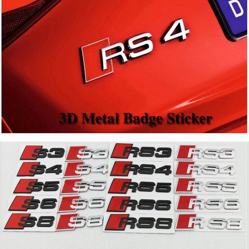 3D Metal Emblems RS3 RS4 RS5 RS6 RS8 S3 S4 S5 S6 Car Sticker Modification 3D Auto Metal Car Badge for audi A3 A4 A5 A6 A6L A8