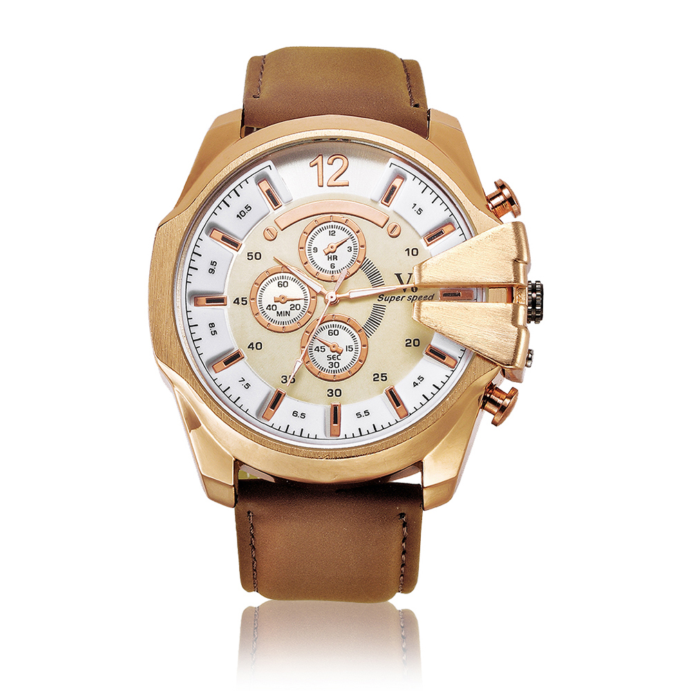 Promotion Men Watches Top Brand Luxury V6 Quartz Watch Gift Waterproof Gold Leather Analog Wristwatches Relogio Masculino 2016Promotion Men Watches Top Brand Luxury V6 Quartz Watch Gift Waterproof Gold Leather Analog Wristwatches Relogio Masculino 2016