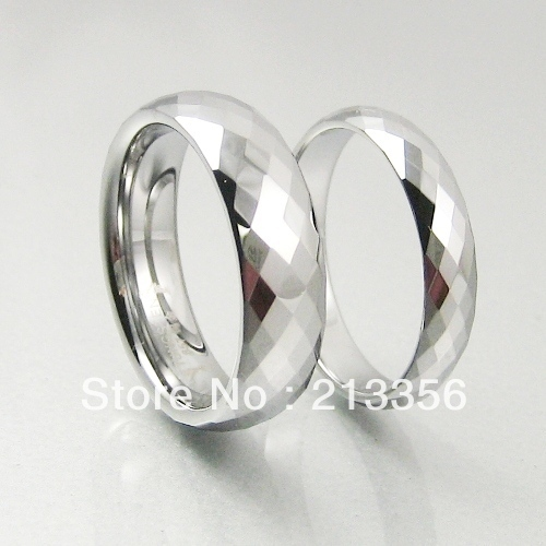 2PCS/PAIR Free Shipping Cheap Price USA Hot Selling 4MM/6MM HIS&HERS SHINY FACET TUNGSTEN CARBIDE MENS RING WEDDING BAND RING