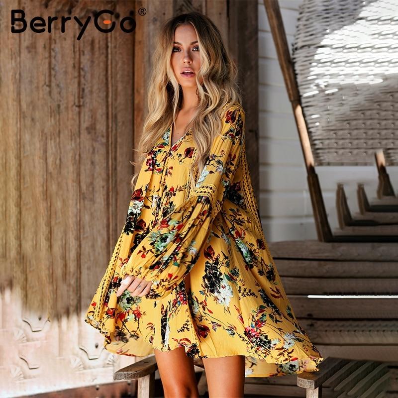 BerryGo Hollow out boho summer dress Women vintage loose lace lantern sleeve short dress Ruffle flower print sexy dress vestidos 2