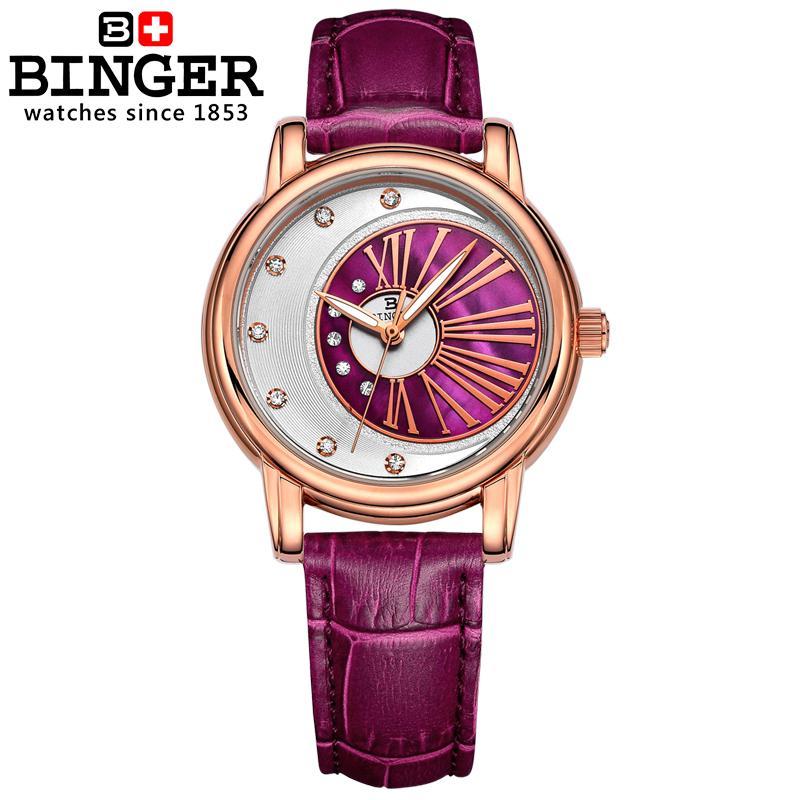 Suisse Binger montres pour femmes diamant de luxe top marque horloge bracelet en cuir quartz étanche montres B1137 5-in Montres femme from Montres    3