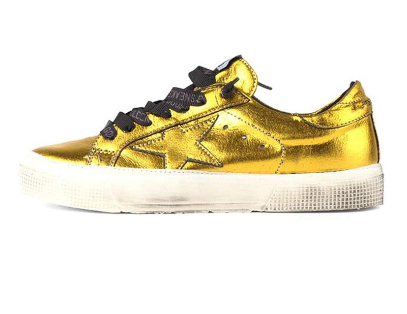 Italy Designer Golden Uomo 2016 Men Shoes Women Casual Goose Shoes Gold Valentine Genuine Leather Scarpe Scollate Chaussure Luxe hogan scarpe uomo