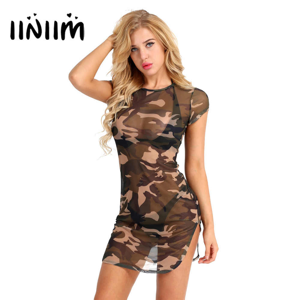 Vrouwen Korte Mouw Camouflage Print Side Slit Sheer Mesh Slim Fit See Through Party Club T-Shirt Mini Sexy Zomer Strand jurk