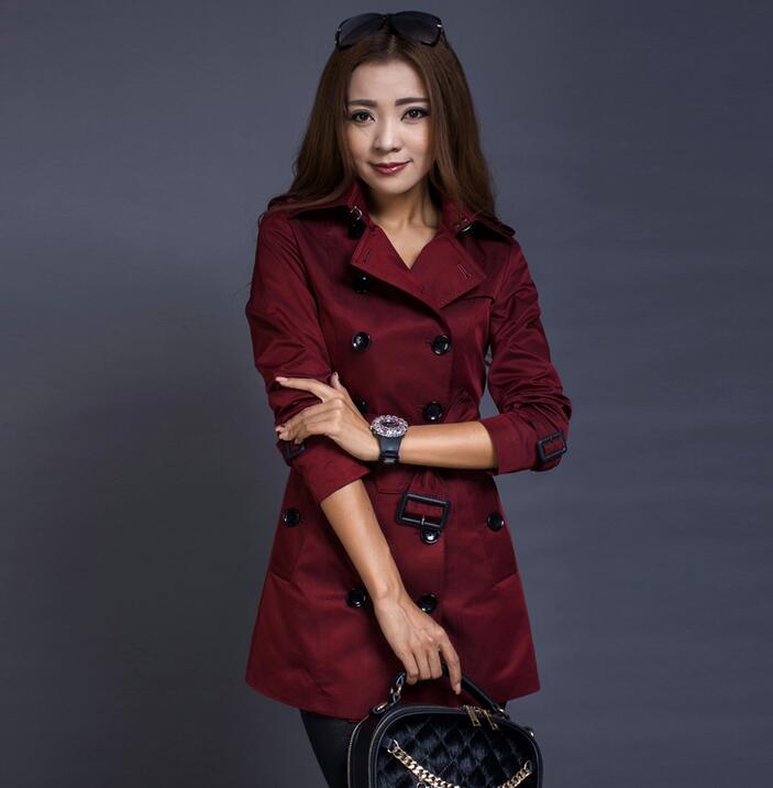 Femmes bleu Feminina Coat Feminino Plus Pour Dames rouge Européenne Jaqueta À Trench noir Boutonnage Femme Double Casaco Pardessus Taille Printemps Beige 4q4Fw6H8