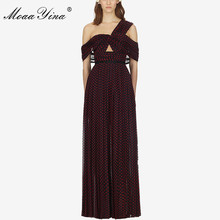 MoaaYina Spring Summer New Arrive Dot Long Dress Offer Shoulder Sexy Party Women dress Backless
