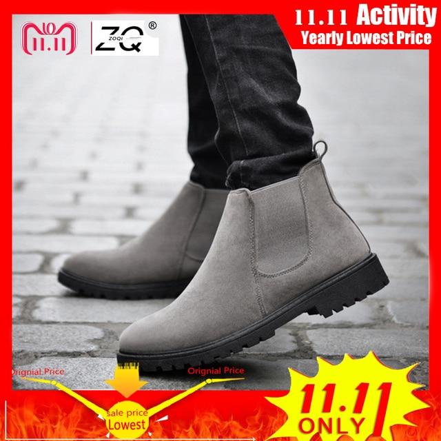 ZOQI Cow Suede เชลซีรองเท้าผู้ชายรองเท้าผ้าใบคุณภาพสูงรองเท้าผู้ชายรองเท้าหนังฤดูหนาวรองเท้าผู้ชายทำงานรองเท้า Zapatos hombre