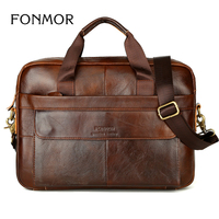 Leather Briefcase Men Handbag Messenger Bags Vintage Genuine Leather Laptop Bag Business Messenger Shoulder Bags Men