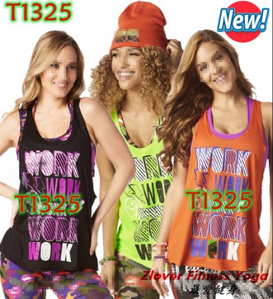 S M L Woman Dance vest Work Loose Tank racerback Orange/black/GREEN