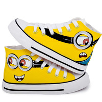 Children Canvas Shoes 2016 Spring Hand Painted Boys Girls Canvas Sport Shoes Despicable Me Minions Casual