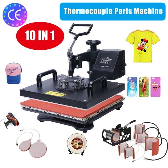 Actualizado 9 en 1 29*38 CM Combo de la prensa del calor de la máquina de la impresora de 2D impresora de transferencia térmica para tapa de taza placa de camisetas de la máquina de impresión